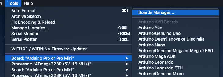 Arduino Boards Manager